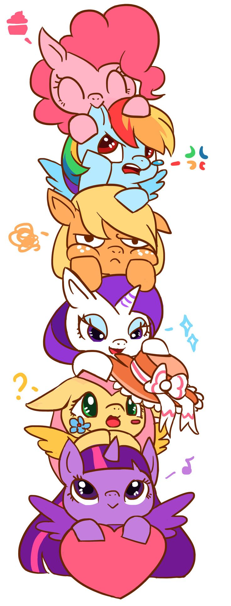 #833736 - applejack, applejack is not amused, artist:kongyi, chibi, cute, ear nibble, fluttershy, hat, mane six, pinkie pie, princess twilight, rainbow dash, rarity, safe, tower of pony, twilight sparkle - Derpibooru - My Little Pony: Friendship is Magic Imageboard