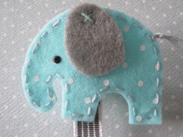 Aqua Elephant Pacifier Clip