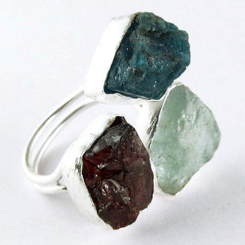Blauwe steen!! Aquamarijn& granaat en blauwe neon apatiet 925 sterling zilveren ring, mode zilveren sieraden, mooie zilveren sieraden