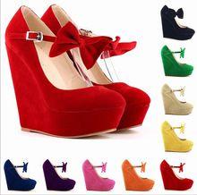 2015 para mujer de moda lindo tacones altos Sexy cuñas del zapato Comfort plataformas de la mariposa de tiras Pump Women Shoes Plus Size34-42 w822(China (Mainland))