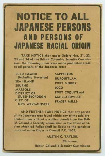 Notice to all Japanese Persons - 1942