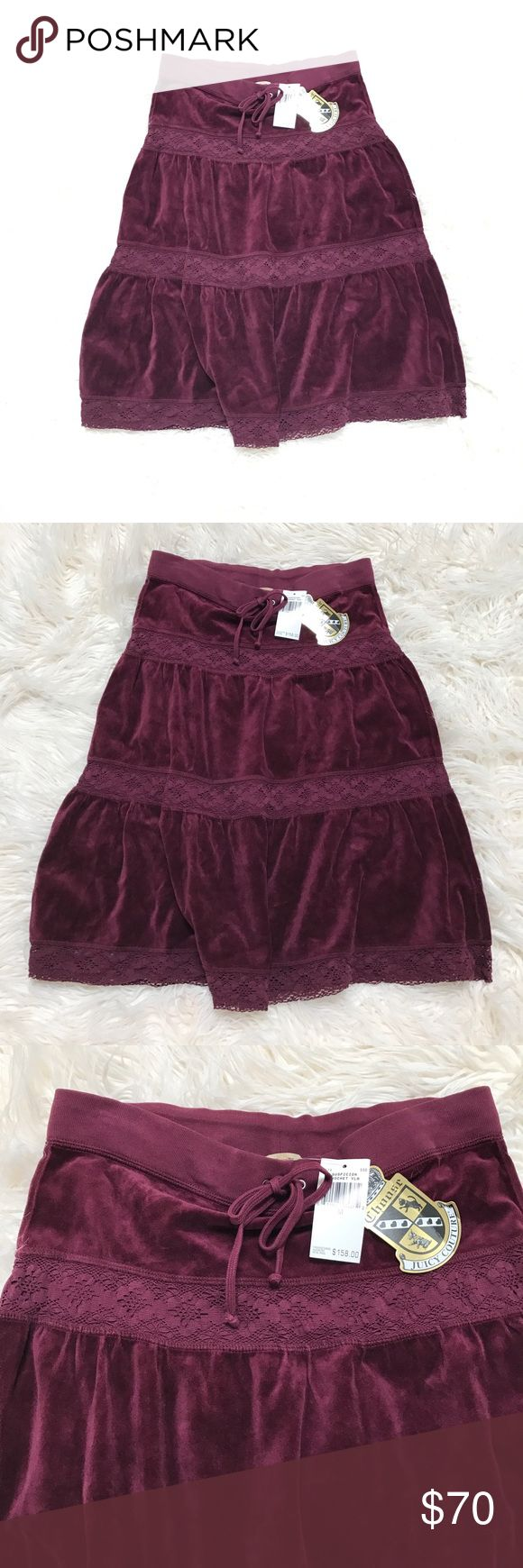 Juicy Couture Suspicion Crochet Velour Skirt Burgundy Juicy Couture Suspicion Crochet Velour skirt size medium.  Brand new with tags!  Purchased for $158.00.  Brand new, never worn. Burgundy is in high style this season! This is a cute skirt to hit the beach or mall or can be dressed up to go to dinner too.  Very cute and very fashionable! From a smoke free home!! Juicy Couture Skirts