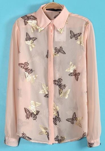 Pink Metal Embellished Butterfly Print Blouse - Sheinside.com #SheInside