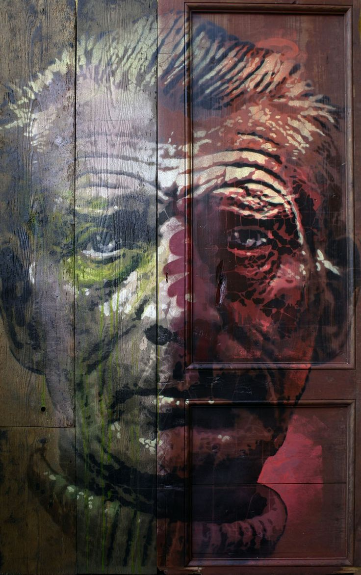 SOLD : ORTICANOODLES, Portrait of Samuel Beckett, Stencil on found object, 105x170 cm,  2013 [SOLD]