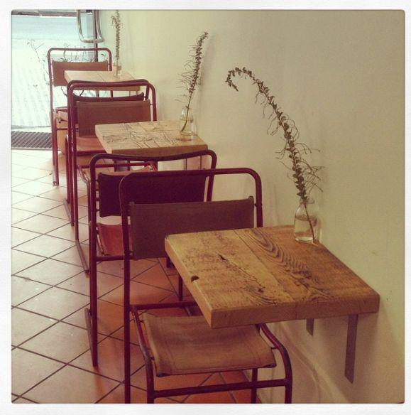 2eight3- Custom wall hung café tables located at Infinity Bakery, Sydney. www.2eight3.com.au