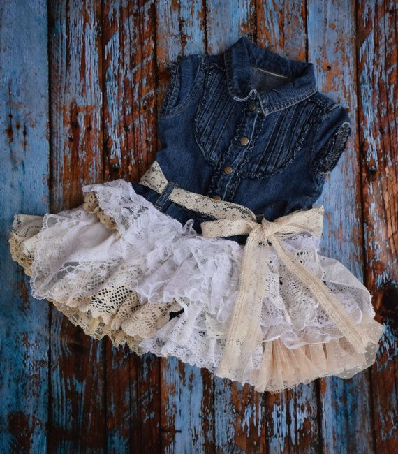 ooak baby toddler jean fall autumn denim dress by VintageBabyLace