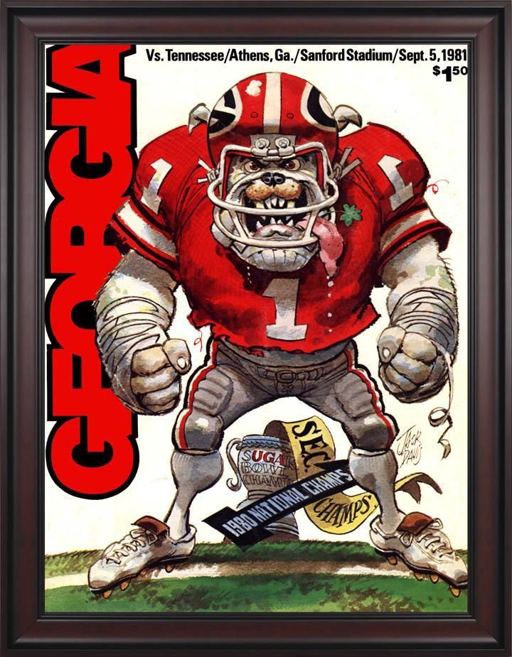 1981 Georgia Bulldogs vs Tennessee Volunteers 30 x 40 Framed Canvas Historic Football Poster