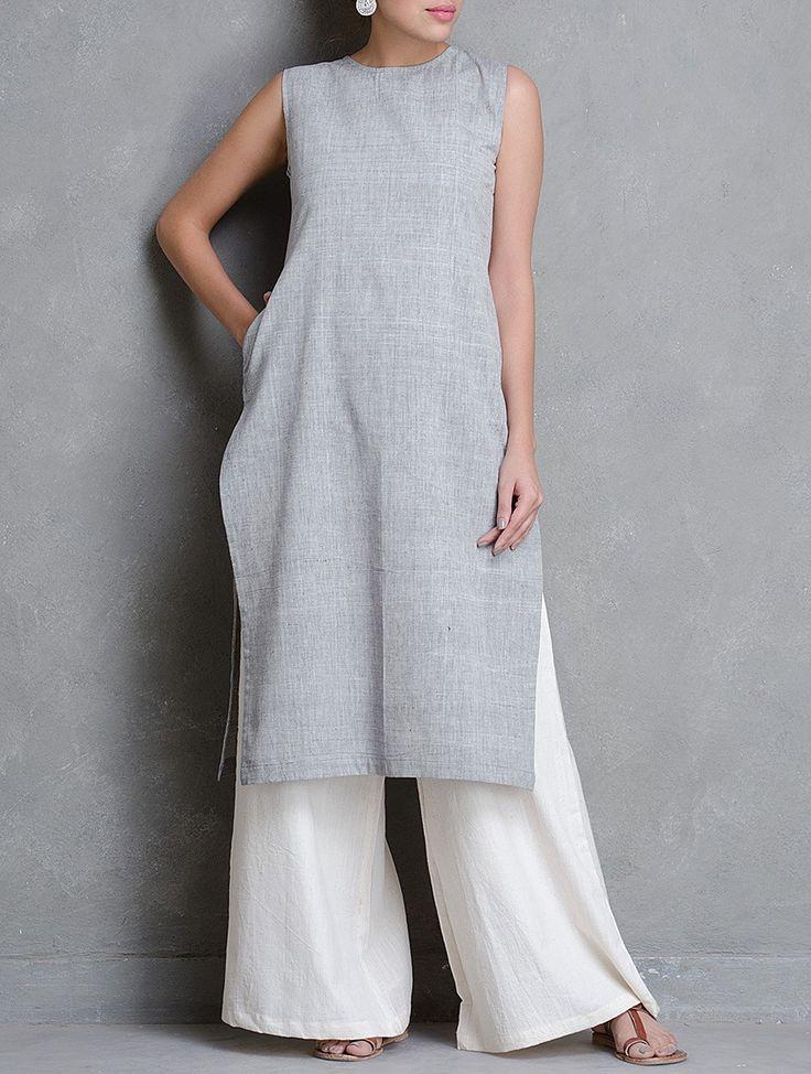 Buy Grey Sleeveless Khadi Cotton Kurta with Pocket (Front) Online at Jaypore.com