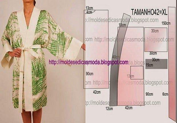 PASSO A PASSO MOLDE DE ROBE Corte dois retângulo de tecido com a altura e largura que pretende para costas e frente. Desenhe o decote das costas. Desenhe o