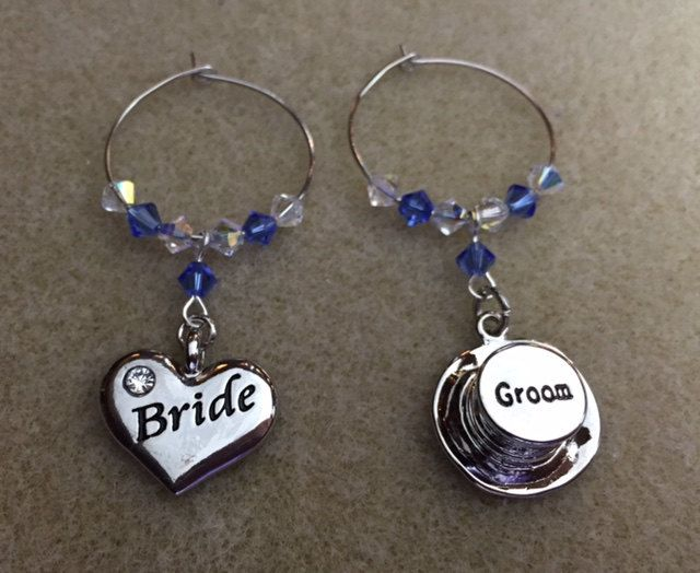 Wine Glass Charms - Bride and Groom - Top Hat and Heart - Wedding Favours - Top Table Decorations - Bridal Party by Makewithlovecrafts on Etsy