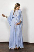 """I Believe In Unicorns - Maxi Dress"" embroidered maxi dress - Powder blue Fillyboo - Boho inspired maternity clothes online, maternity dresses, maternity tops and maternity jeans."