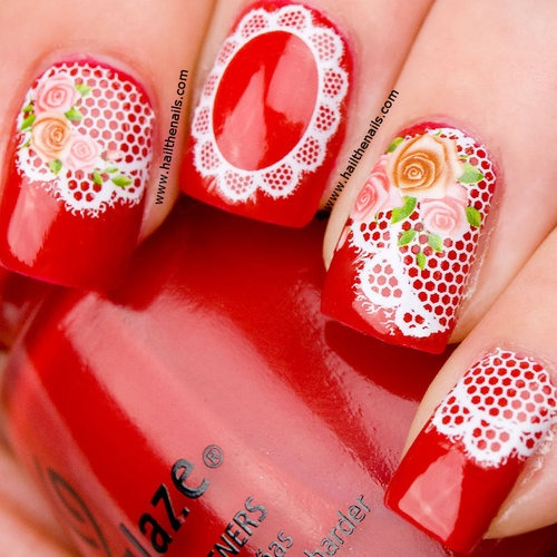 Nail WRAPS Nail Art Water Transfers Decals - White Lace & Pink Roses YD007 | eBay