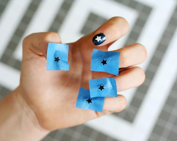 #DIY 4th of July Nails: Use painter's tape for stars! www2.fiskars.com