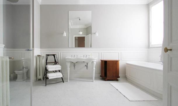 Cool White Bathroom White Wainscot White Towels Black