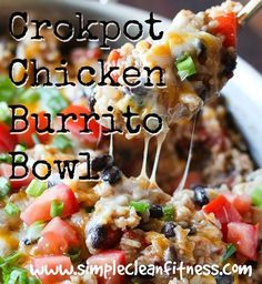 Crockpot Chicken Burrito Bowl - 21 Day Fix Recipes - Clean Eating Recipes Healthy Recipes - Dinner - Lunch  weight loss - 21 Day Fix Meals - crockpot - www.simplecleanfitness.com