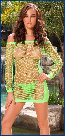 See Thru Fence Net Mini Dress Neon Green 25 85 Black