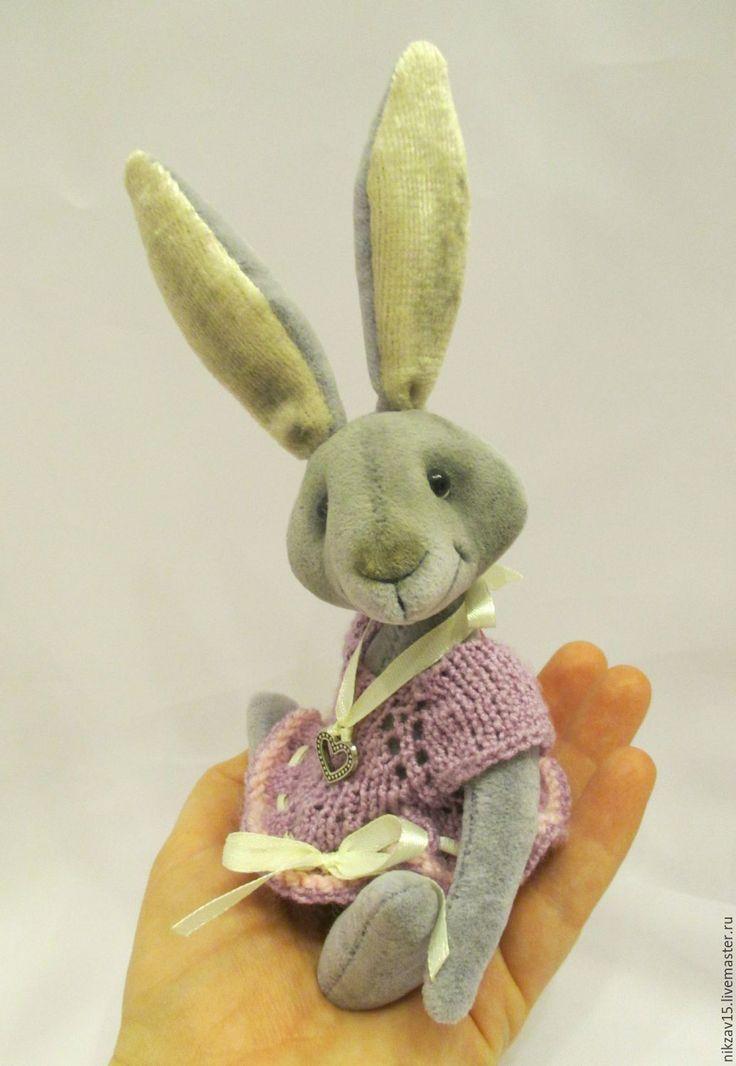 Купить Зайка Стеша - серый, сиреневый, заяц, зая, зайка, зайчишка, тедди заяц, игрушка