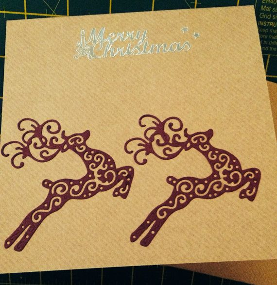 Jumping Reindeer Christmas Card by lovewithcards on Etsy, £3.00