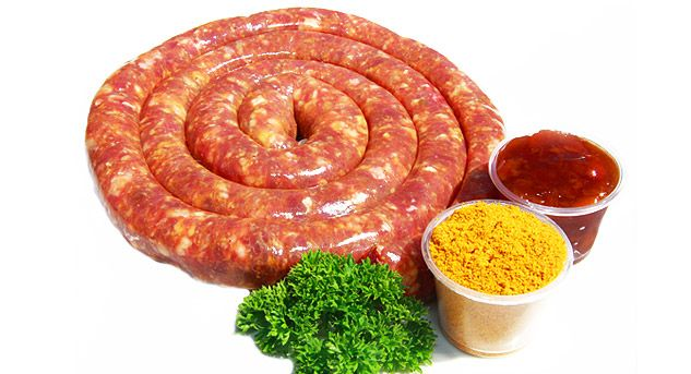 Sosatie Wors  Sosatie wors which has its origin from a traditional South African dish, which is of Cape Malay origin. This delicious sausage with the fine ingredients of coarsely chopped beef or lamb, chutney, mild curry, mixed spices all in a sheep casing, will have you coming back for more.