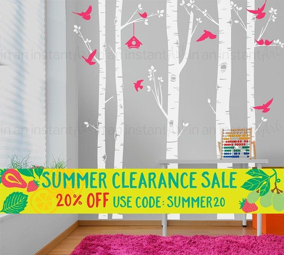 Birch Tree Wall Decal   Five Birch Trees with Birds and Hanging Birdhouse   Baby Nursery, Children's Room, Living Space Interior Design 055