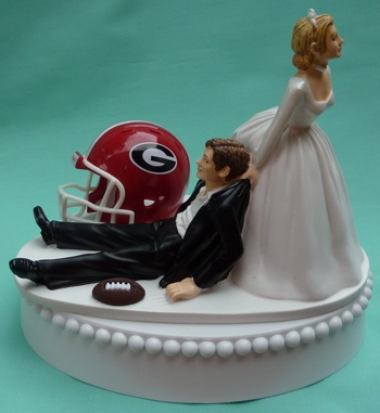 Georgia wedding topper!Wedding Cake Toppers, Ideas, Grooms Cake, Wedding Cakes, Theme Wedding, Iowa Hawkeye, Themed Weddings, Football Theme, Georgia Bulldogs