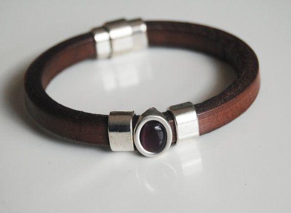 Men's Brown Licorice Leather Bracelets  by FerozasjewelryForMen, $45.00