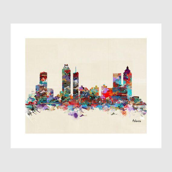 Atlanta city skyline .colorful modern pop art by oxleystudio