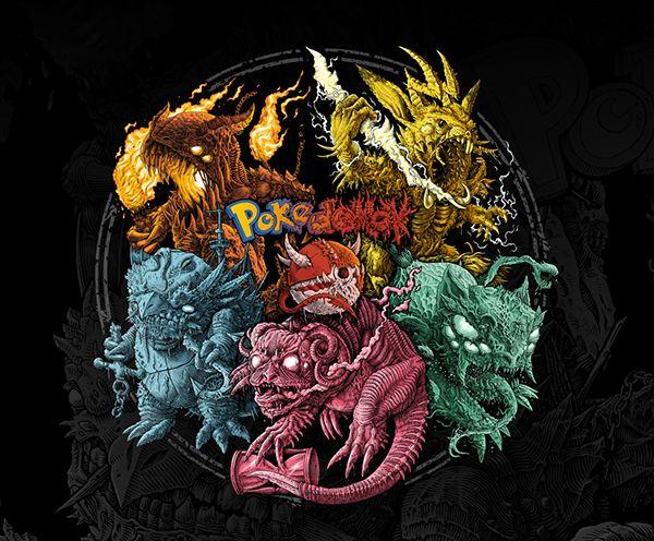 Pokedemon full artwork. Pikachu, Charmander, Squirtle, Bulbasaur, Slowpoke. Black metal / death metal, dark art, creepy monsters, cg, concept art, character design
