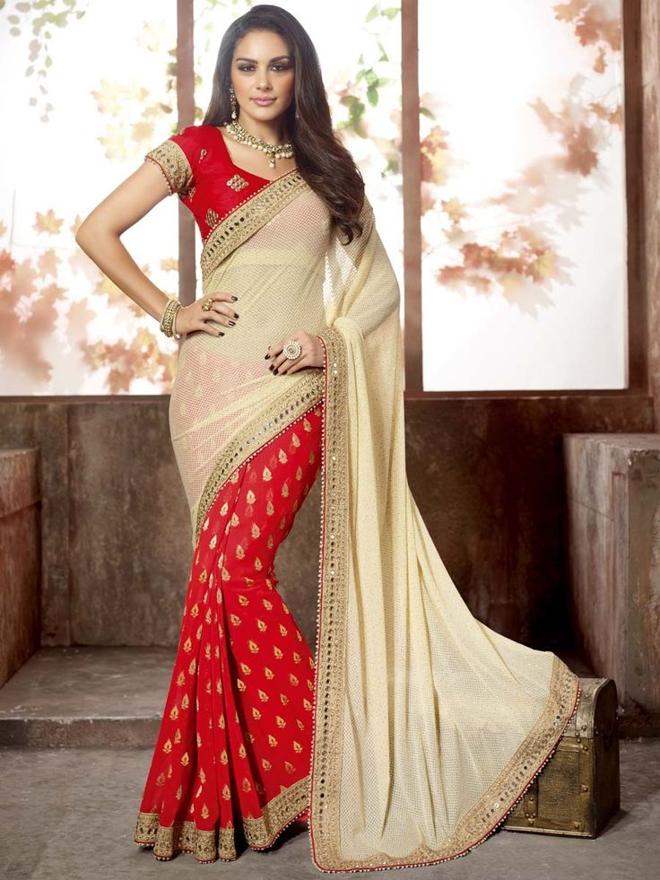 Enchanting red, cream color jacquard #Georgette #Saree with zari, mirror work, Item Code: SNG2705 http://www.bharatplaza.com/new-arrivals/sarees.html