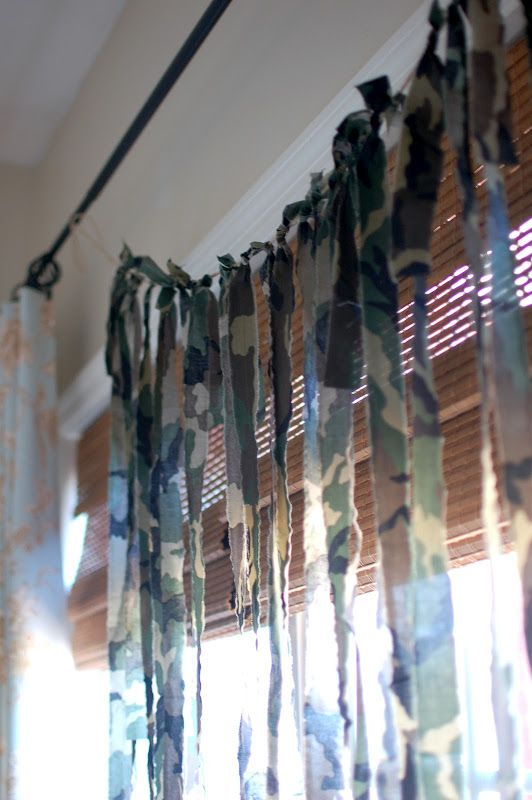 camo garland add burlap strips and twine with army men