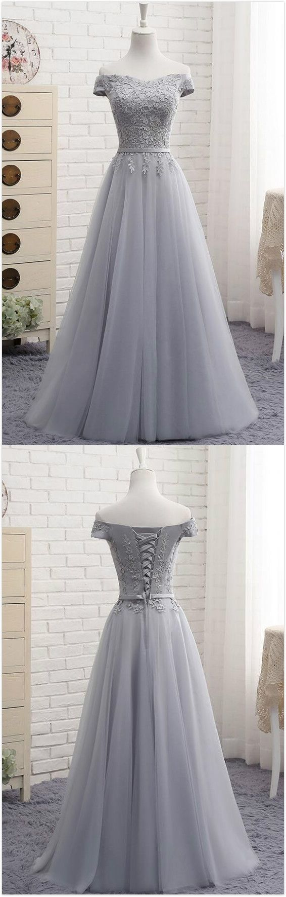 Gray Tulle Prom Dresses,Lace Prom Dress,A Line Prom