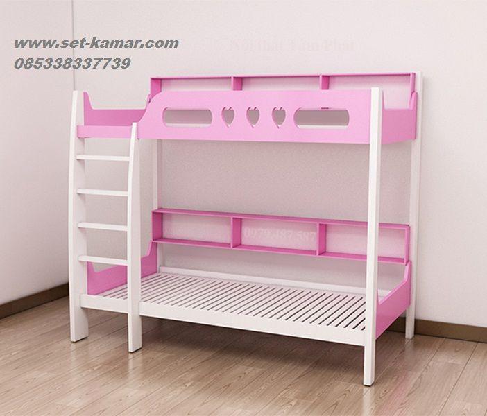Ranjang Tingkat Minimalis Murah Cat Duco Putih Kombinasi Pink - Set Kamar | Furniture Kamar | Kamar Tidur Anak Minimalis | Tempat Tidur Tingkat