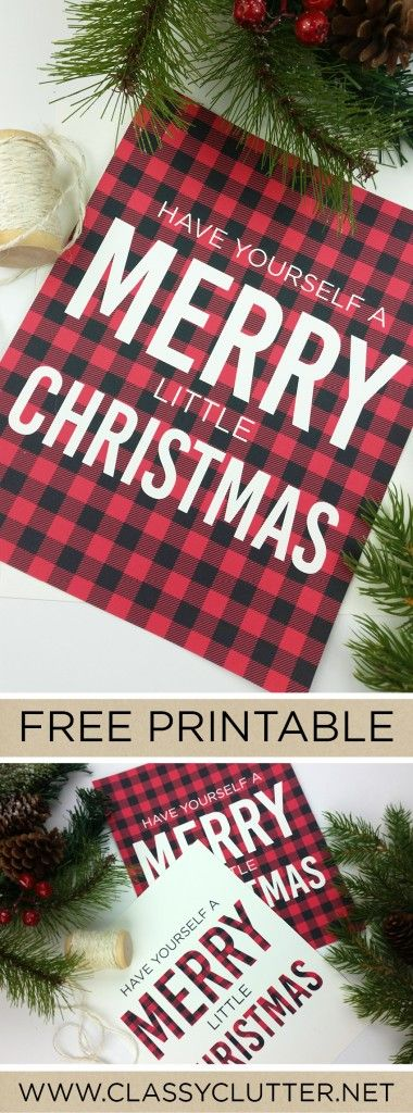 Free home decor Christmas printable in buffalo check plaid. Easy DIY idea to decorate your home this holiday season.