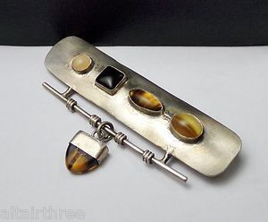 MULTI STONE ARTISAN STERLING SILVER 925 MODERNIST PIN BROOCH 2 1/4 INCH