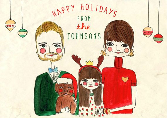 Custom Portrait Holiday Cards, Holiday Greeting Cards, Happy Holidays Card, Custom Christmas Card