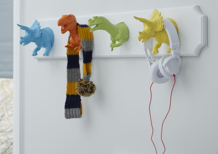 Dinosaurs, dragons, animals and shapes, take your child's bedroom theme to a new level with coordinated hooks and hangers. Simply mount plastic toys onto wood and spray in fun shades. Playful yet practical!