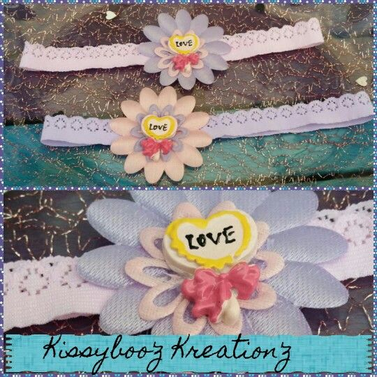 Baby love flower stretch lace headbands fits 6-12month olds available at Kissyboo'z Kreation'z