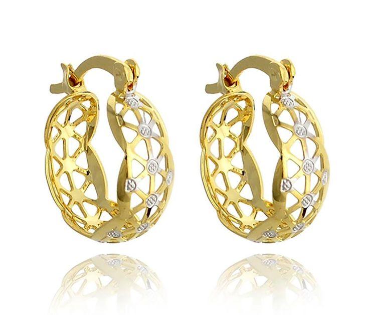 18k Yellow Gold Plated Filigree Hoop Earrings Women #QueensJewelry #Hoop