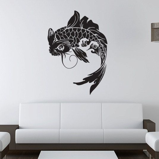 Koi fish wall decal japanese vinyl sticker koi and for Koi wall decor