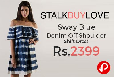 StalkBuyLove is offering Sway Blue Denim Off Shoulder Shift Dress Just Rs.2399. Women's fashion dress made with cotton denim. Features: Off shoulder, Unlined, Material: Cotton Denim, Fit: Loose.  http://www.paisebachaoindia.com/sway-blue-denim-off-shoulder-shift-dress-just-rs-2399-stalkbuylove/