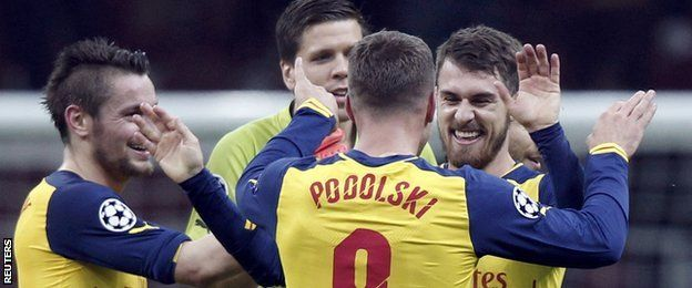 Arsenal celebrate an Aaron Ramsey goal against Galatasary in Turkey, Champions League.