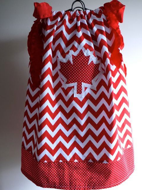 Oh Canada chevron and dots pillowcase dress - Canada Day dress with maple leaf applique