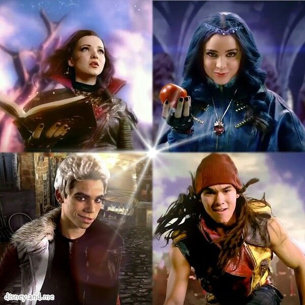 Disney Descendants. Mal, Evie, Jay and Carlos. Maleficent, Evil Queen, Jafar and Cruella Devil. Dove Cameron, Sofia Carson, Booboo Stewart, and Cameron Boyce.