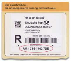 Registered items label