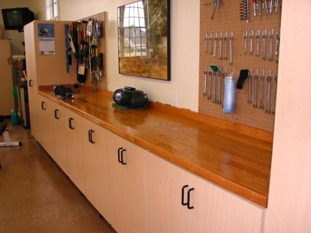our garage cabinets come along with pegboards