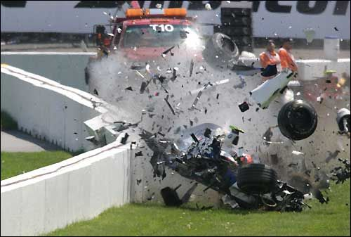 """Robert Kubica, Montreal 2007, BMW Sauber F1.07   I was in the grandstand opposite and saw the crash.  I have a tin on """"bits"""" on my fridge"""