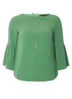 Womens Green Necklace Top- Green