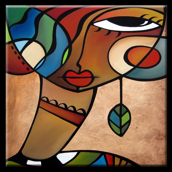 Interlude - Original Large Abstract Contemporary Modern Art Cubist Painting by Fidostudio
