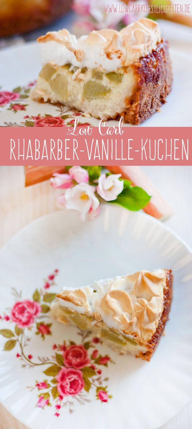 Low Carb zarter Rhabarber-Vanille-Kuchen mit Baiserhaube www.lowcarbkoestlichkeiten.de #lowcarb #glutenfrei #zuckerfrei #grainfree