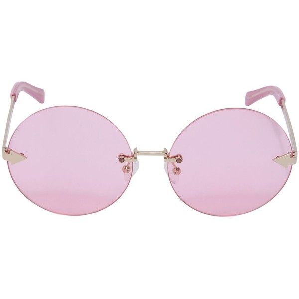 Karen Walker Women Disco Circus Pink Round Sunglasses (370 NZD) ❤ liked on Polyvore featuring accessories, eyewear, sunglasses, pink, karen walker, round metal frame glasses, pink round sunglasses, karen walker sunglasses and lens glasses